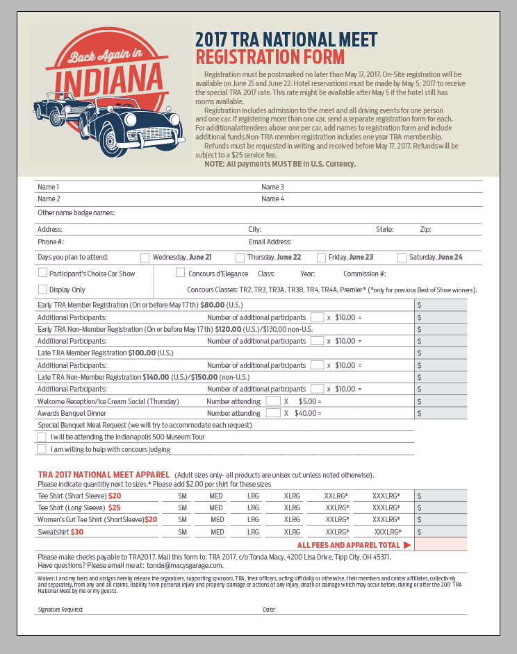 2017 TRA Registration Form